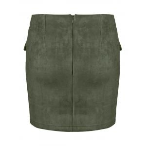 Lace Up Pocket Suede Mini Bodycon Skirt - ARMY GREEN S