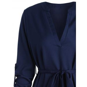 V Neck High Low Long Sleeve Dress - BLUE S