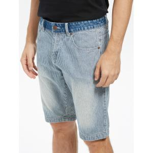 Vertical Stripes Zip Fly Denim Shorts