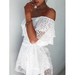Off The Shoulder Lace Romper - Blanc TAILLE MOYENNE