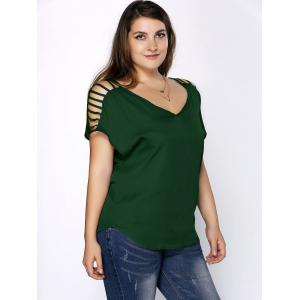 Plus Size V Neck Ripped Sleeve Tee - BLACKISH GREEN 2XL