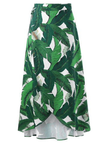 New High Slit Tropical Leaf Print Wrap Skirt - XL GREEN Mobile