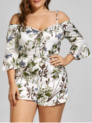 Latest Spaghetti Strap Floral Cold Shoulder Plus Size Romper