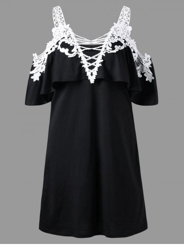 Overlay Crochet Trim Cold Shoulder Dress - White And Black - L