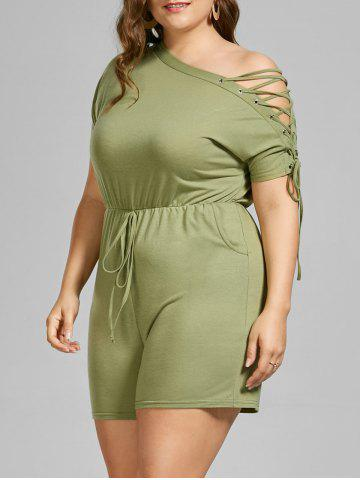 Plus Size Skew Collar Lace Up Romper - Yellow Green - 5xl