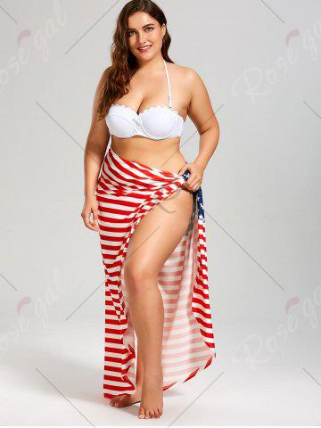 b993c0b086 50% OFF] American Flag Plus Size Wrap Cover Up Dress | Rosegal