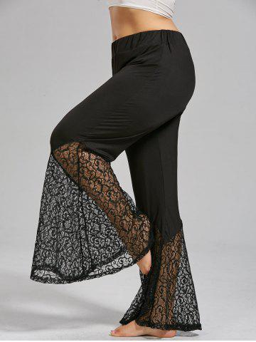 Outfits Plus Size Lace Crochet Panel Bell Bottom Pants - XL BLACK Mobile