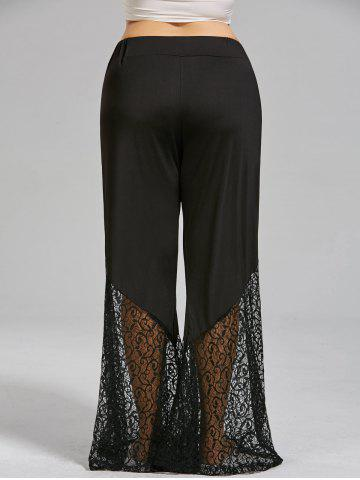 New Plus Size Lace Crochet Panel Bell Bottom Pants - XL BLACK Mobile