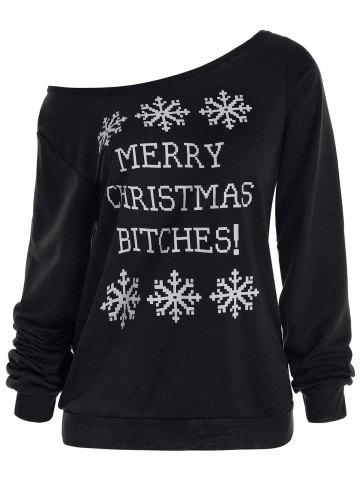 Best Snowflake and Letter Print Christmas Sweatshirt