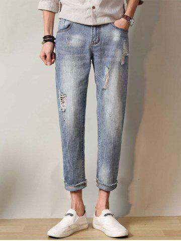 Faded Straight Leg Ripped Neuf Minutes of Jeans Nuageux 38