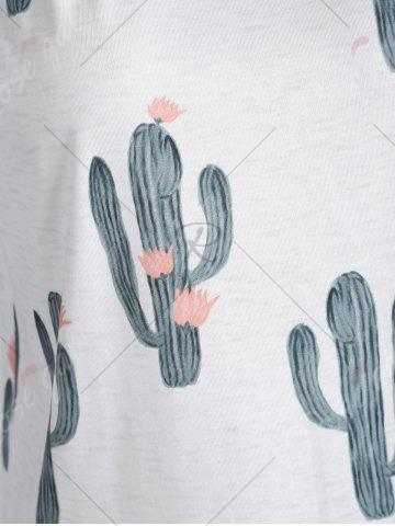 Latest Cactus Printed Tank Top - L WHITE Mobile
