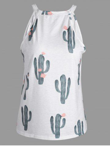 Shops Cactus Printed Tank Top - L WHITE Mobile