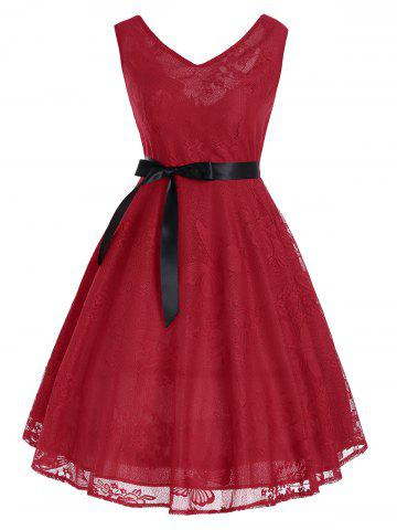 Floral Butterfly Pattern Vintage Fit and Flare Dress - Red - M