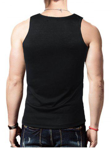 Best Round Neck Graphic Distressed Print Tank Top - BLACK L Mobile