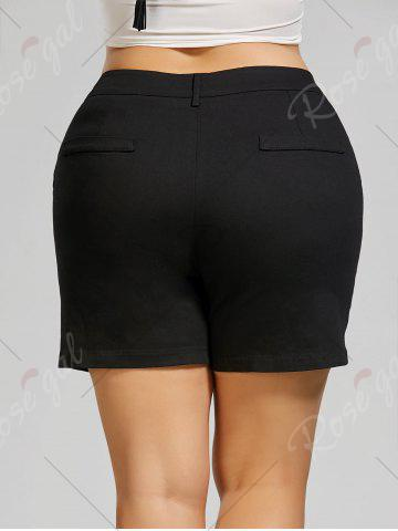 Outfit Plus Size Mini Shorts with Pockets - 4XL BLACK Mobile