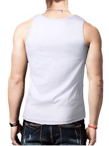 Best Round Neck Graphic Distressed Print Tank Top - WHITE L Mobile