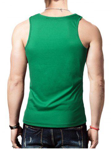 Cheap Round Neck Graphic Distressed Print Tank Top - GREEN L Mobile