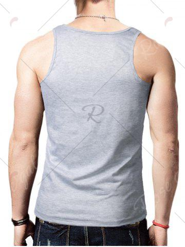 Unique Round Neck Graphic Distressed Print Tank Top - GRAY XL Mobile