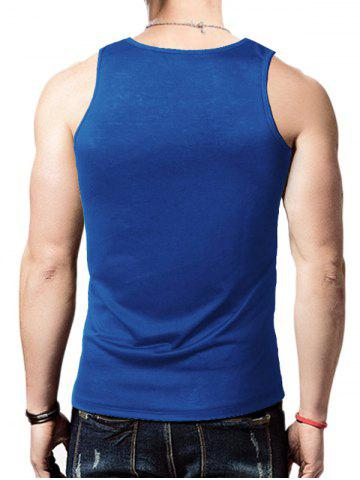 New Round Neck Graphic Distressed Print Tank Top - BLUE M Mobile