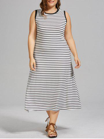 Plus Size Stripe Side Slit Maxi  Tank Dress - White - 4xl