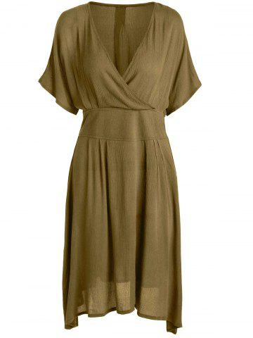 A Line V Neck Plus Size Homecoming Dress - Ginger - 2xl