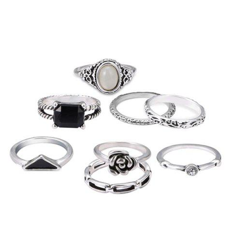 Shops Rhinestone Flower Oval Finger Ring Set SILVER