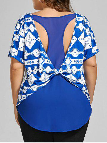 Discount Back Twist Printed Cut Out Plus Size Top - 2XL BLUE Mobile