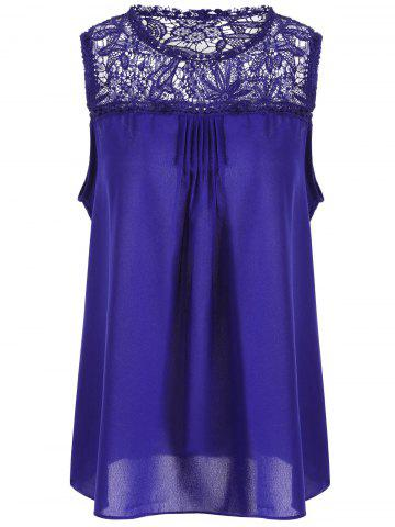 Unique Lace Trim Chiffon Sleeveless Plus Size Top