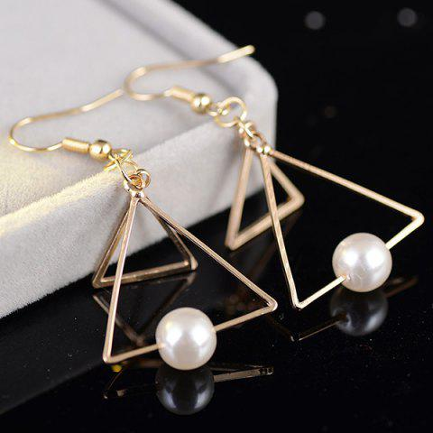 Faux Pearl Double Hollow Out Trangle Earrings - Golden