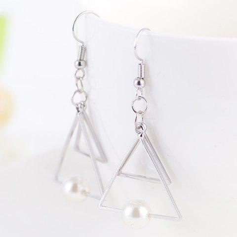 Faux Pearl Double Hollow Out Trangle Earrings - Silver