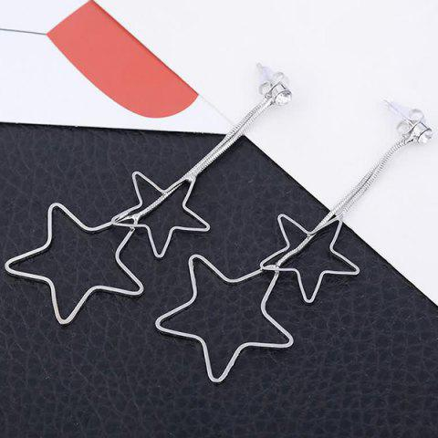 Metal Double Hollow Out Stars Drop Earrings - Silver - 130cm