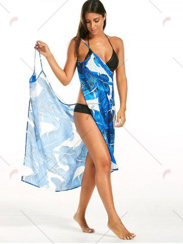 Chic Banana Leaf Print Cover Up Sarong Dress - L BLUE Mobile