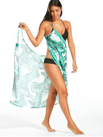 Latest Banana Leaf Print Cover Up Sarong Dress - 2XL GREEN Mobile