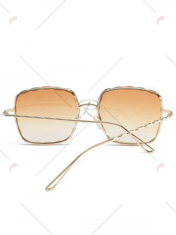 Best Metal Wave Design Rectangle Frame Sunglasses - YELLOW  Mobile