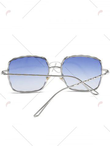Unique Metal Wave Design Rectangle Frame Sunglasses - BLUE  Mobile