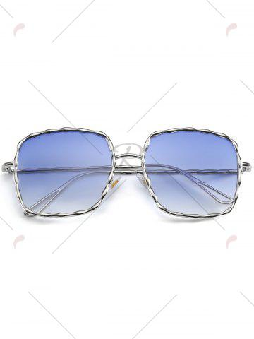 Buy Metal Wave Design Rectangle Frame Sunglasses - BLUE  Mobile