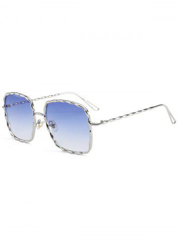 Trendy Metal Wave Design Rectangle Frame Sunglasses - BLUE  Mobile