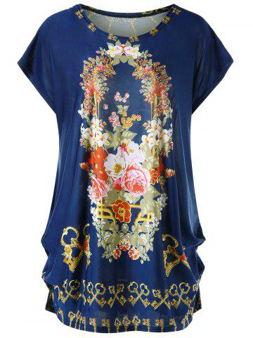 Hot Plus Size Cap Sleeve Floral Baggy Top