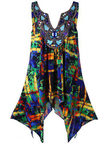 Discount Plus Size Embroidery Decorated Handkerchief Tank Top COLORMIX 2XL