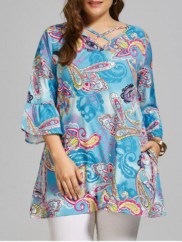 Sale Paisley Cutout Plus Size T-shirt  with Sleeves SKY BLUE 4020# XL