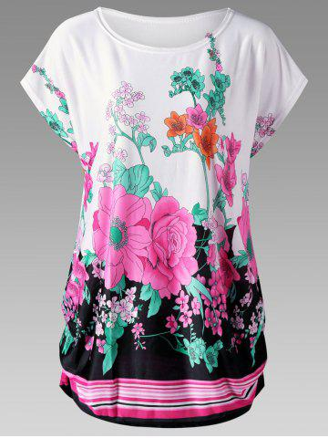 Outfit Floral Curved Hem Plus Size Baggy Top