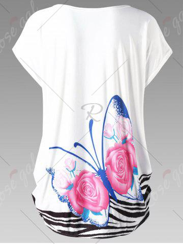Outfit Butterfly Print Plus Size Baggy Top - ONE SIZE WHITE Mobile