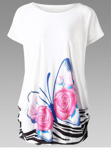Butterfly Print Plus Size Baggy Top - White - One Size