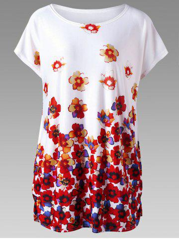 Floral Plus Size Cap Sleeve Tunic Top - Red With White - One Size