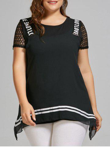 Cheap Plus Size Chiffon Tank Top and Hollow Out T-shirt