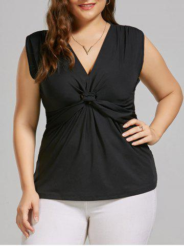 Plus Size Front Knot Sleeveless Top - Black - 5xl