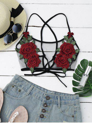 Sheer Mesh Flower Applique Crop Top - Black - Xl