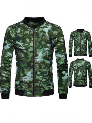 Fancy Lion Head Print Camo Jacket