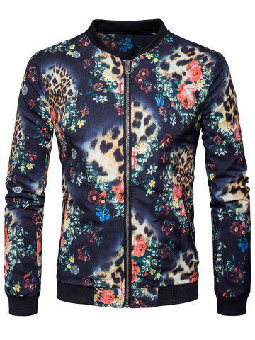 Cheap Zip Pocket Floral Printed Bomber Jacket