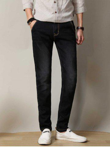Stretchy Zipper Fly Straight Leg Distressed Jeans - Black - 38